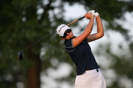 ROGERS, AR - JULY 4: Nicole Castrale watches a tee shot on the ninth hole during the first round of the P&G Beauty NW Arkansas Championship presented by John Q. Hammons on July 4, 2008 at Pinnacle Country Club in Rogers, Arkansas. (Photo by G. Newman Lowrance/Getty Images)