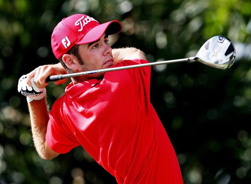 MIAMI - OCTOBER 16:  Troy Merritt hits a tee shot during the second round of the 2009 Nationwide Tour Miccosukee Championship at the Miccosukee Golf & Country Club on October 16, 2009 in Miami, Florida.  (Photo by Doug Benc/Getty Images)