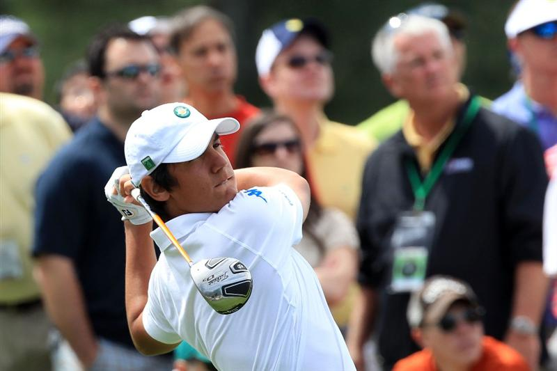 AUGUSTA, GA - APRIL 10:  Amateur Matteo Manassero of Italy watches his tee shot on the seventh hole during the third round of the 2010 Masters Tournament at Augusta National Golf Club on April 10, 2010 in Augusta, Georgia.  (Photo by David Cannon/Getty Images)