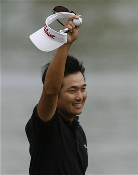 DULUTH, GA - MAY 18:  Ryuji Imada of Japan waves to the gallery after winning the AT&T Classic at TPC Sugarloaf on May 18, 2008 in Duluth, Georgia.  (Photo by Matt Sullivan/Getty Images)