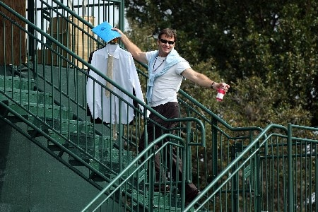 ORLANDO, FL - MARCH 14:  Nick Faldo of England on his way to the Television commentary position during the second round of the 2008 Arnold Palmer Invitational presented by Mastercard at the Bay Hill Golf Club and Lodge, on March 14, 2008 in Orlando, Florida.  (Photo by David Cannon/Getty Images)