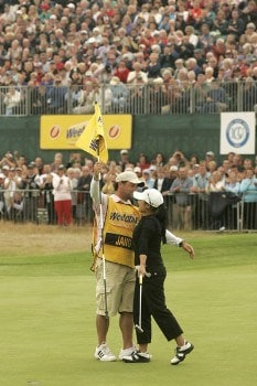 Jeong Jang celebrates winning the 2005 Weetabix Women's British Open at the Royal Birkdale Golf Club. July 31, 2005Photo by Pete Fontaine/WireImage.com