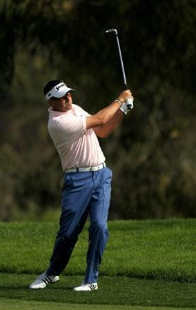 LA JOLLA, CA - JANUARY 29:  Robert Allenby of Australia hits his second shot on the fifth hole at the North Course at Torrey Pines Golf Course during the second round of the Farmers Insurance Open on January 29, 2010 in La Jolla, California.  (Photo by Stephen Dunn/Getty Images)