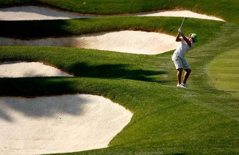 BETHLEHEM, PA - JULY 09:  Kristy McPherson hits a shot from the rough during the first round of the 2009 U.S. Women's Open at Saucon Valley Country Club on July 9, 2009 in Bethlehem, Pennsylvania.  (Photo by Streeter Lecka/Getty Images)