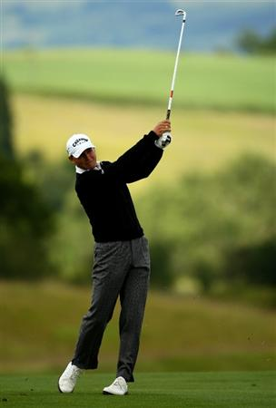 NEWPORT, WALES - JUNE 07:  Niclas Fasth of Sweden plays into the 1st green during the final round of the Celtic Manor Wales Open on the 2010 Course at The Celtic Manor Resort on June 7, 2009 in Newport, Wales.  (Photo by Richard Heathcote/Getty Images)