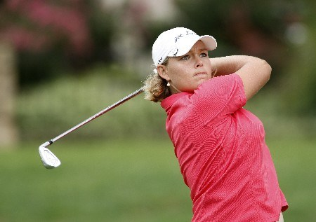 ROGERS, ARKANSAS - SEPTEMBER 7: Katherine Hull tees off the three hole during the first round of the 2007 LPGA NW Arkansas Championship presented by John Q. Hammons at Pinnacle Country Club on September 7, 2007 in Rogers, Arkansas. (Photo by Wesley Hitt/Getty Images)