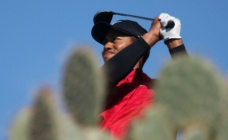 MARANA, AZ - FEBRUARY 24:  Tiger Woods hits his tee shot on the 13th hole during the Championship match of the WGC-Accenture Match Play Championship at The Gallery at Dove Mountain on February 24, 2008 in Marana, Arizona.  (Photo by Scott Halleran/Getty Images)