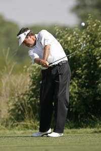 Bruce Lietzke hits a tee shot on hole 4 during the second round of the U.S. Senior Open at Prairie Dunes Country Club in Hutchinson,  Kansas on July 7, 2006.Photo by G. Newman Lowrance/WireImage.com