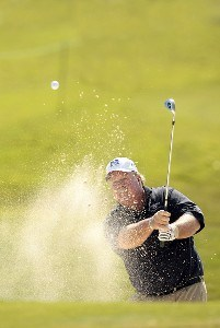 Craig Stadler blasts out of the bunker during the second round of the 2007 Allianz Championship at the Old Course at Broken Sound Club in Boca Raton, Florida on February 10, 2007. Champions Tour - 2007 Allianz Championship - Second RoundPhoto by Pete Fontaine/WireImage.com