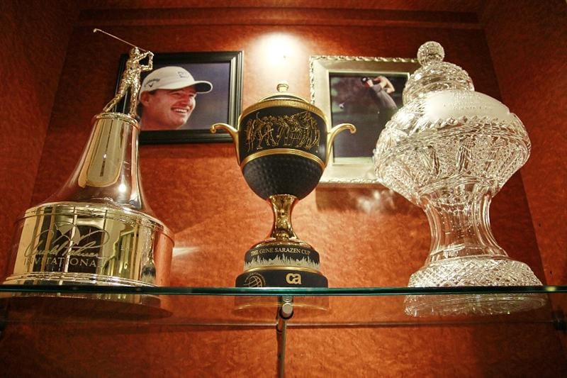 ST AUGUSTINE, FL - MAY 09: The locker of  PGA Hall of Fame golfer Ernie Els is seen at the World Golf Hall of Fame 2011 Induction Ceremony on May 9, 2011 in St Augustine, Florida.  (Photo by Marc Serota/Getty Images for the World Golf Hall of Fame)