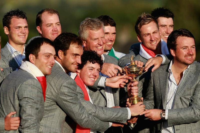 NEWPORT, WALES - OCTOBER 04:  European Team Captain Colin Montgomerie poses with the Ryder Cup and his team following Europe's 14.5 to 13.5 victory over the USA at the 2010 Ryder Cup at the Celtic Manor Resort on October 4, 2010 in Newport, Wales.  (Photo by Andrew Redington/Getty Images)