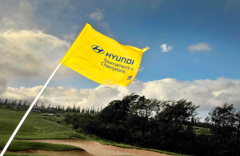 Wind-whipped flag at the 2013 Hyundai Tournament of Champions