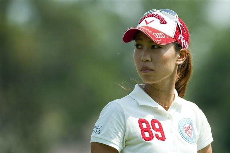 CHON BURI, THAILAND - FEBRUARY 19:  Momoko Ueda of Japan looks back on the 6th hole during day three of the LPGA Thailand at Siam Country Club on February 19, 2011 in Chon Buri, Thailand.  (Photo by Victor Fraile/Getty Images)