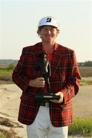 HILTON HEAD ISLAND, SC - APRIL 24:  Brandt Snedeker poses with the trophy after defeating Luke Donald in a playoff during the final round of The Heritage at Harbour Town Golf Links on April 24, 2011 in Hilton Head Island, South Carolina.  (Photo by Streeter Lecka/Getty Images)