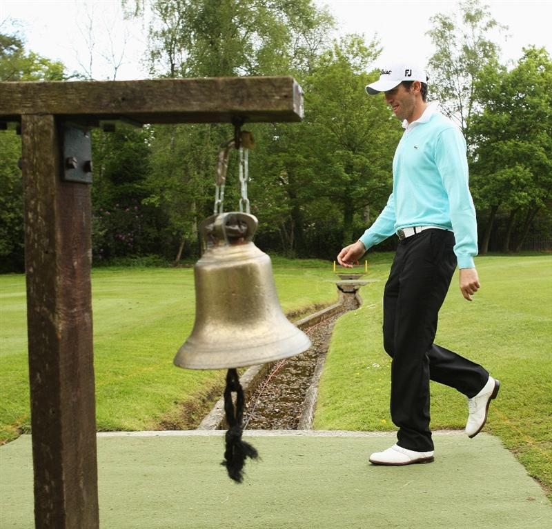 WENTWORTH, ENGLAND - MAY 19:  Gregory Bourdy of France passes the signal bell on the third fairway during the Previews of the BMW PGA Championship at Wentworth on May 19, 2009 in Virginia Water, England.  (Photo by Warren Little/Getty Images)