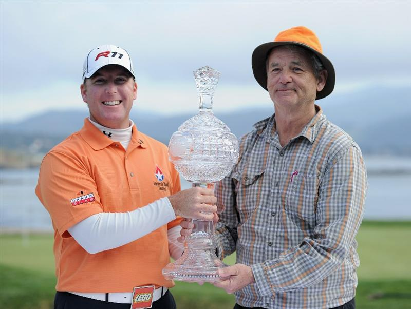 PEBBLE BEACH, CA - FEBRUARY 13:  D.A Points holds the winners trophy with his playing partner actor Bill Murray after the final round of the AT&T Pebble Beach National Pro-Am at Pebble Beach Golf Links on February 13, 2011  in Pebble Beach, California.  (Photo by Stuart Franklin/Getty Images)