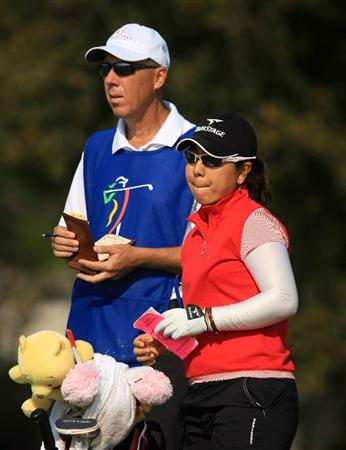 DAYTONA BEACH, FL - DECEMBER 06:  Mika Miyazato of Japan waits on the 17th tee during the fourth round of the LPGA Qualifying School at LPGA International on December 6, 2008 in Daytona Beach, Florida.  (Photo by Scott Halleran/Getty Images)