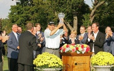 Loren Roberts holds the trophy after the fourth and final round of the Constellation Energy Senior Players Championship on Sunday October 7, 2007 at Baltimore Country Club/ Five Farms East Course in Timonium, Maryland. Champions Tour - 2007 Constellation Energy Senior Players Championship - Final RoundPhoto by M. Cohen/WireImage.com