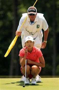 MT. PLEASANT, SC - JUNE 1:  Seon Hwa Lee of South Korea chats with her caddie John Wilkes on the 15th hole during the final round of the Ginn Tribute at RiverTowne Country Club June 1, 2008 in Mt. Pleasant, South Carolina.  (Photo by Scott Halleran/Getty Images)
