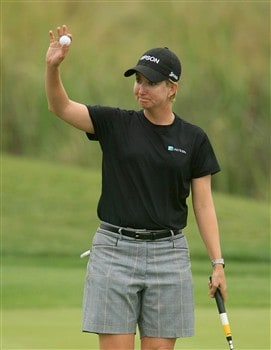 MT. PLEASANT, SC - MAY 29:  Karrie Webb of Australia waves to the gallery after a birdie putt on the 18th green during the first round of the Ginn Tribute at RiverTowne Country Club on May 29, 2008 in Mt. Pleasant, South Carolina.  (Photo by Scott Halleran/Getty Images)