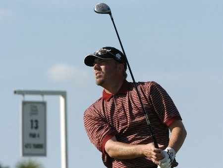 Brett Wetterich drives from the 13th tee during  final  round competition at the 2005 Honda Classic March 13, 2005 in Palm Beach Gardens, Florida. Wetterich, the third round leader,  finished sixth.