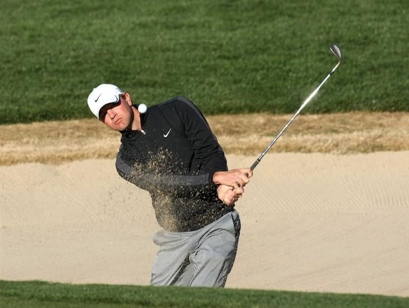 SCOTTSDALE, AZ - JANUARY 30:  Lucas Glover hits out of a bunker on the sixth hole during the second round of the FBR Open on January 30, 2009 at TPC Scottsdale in Scottsdale, Arizona.  (Photo by Stephen Dunn/Getty Images)