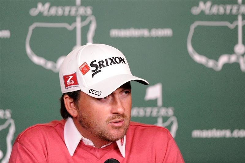 AUGUSTA, GA - APRIL 05:  Graeme McDowell of Northern Ireland speaks with the media during a practice round prior to the 2011 Masters Tournament at Augusta National Golf Club on April 5, 2011 in Augusta, Georgia.  (Photo by Harry How/Getty Images)
