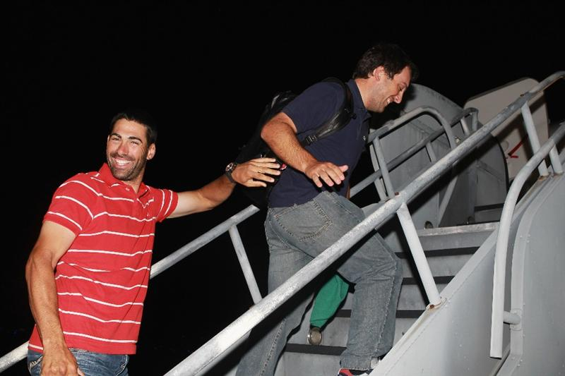 JACKSONVILLE, FL - MAY 15:  European Tour players Alvaro Quiros of Spain and Francesco Molinari of Italy  board a plane departing from the Jacksonville Airport for Spain and the Volvo World Match Play Championship on May 15, 2011 in Jacksonville, Florida.  (Photo by Scott Halleran/Getty Images for IMG)