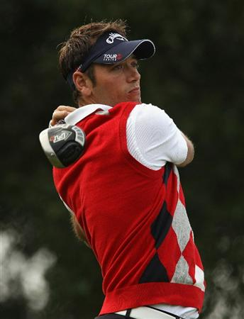 SOTOGRANDE, SPAIN - OCTOBER 29:  Nick Dougherty of England tee's off at the 2nd during the second round of the Andalucia Valderrama Masters at Club de Golf Valderrama on October 29, 2010 in Sotogrande, Spain.  (Photo by Richard Heathcote/Getty Images)