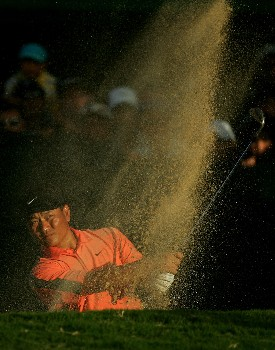 HONOLULU - JANUARY 12:  K.J. Choi hits out of the bunker on the 18th hole during the third round of the Sony Open at the Waialae Country Club on January 12, 2008 in Honolulu, Oahu, Hawaii.  (Photo by Jonathan Ferrey/Getty Images)