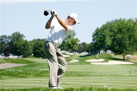BLOOMFIELD HILLS, MI - AUGUST 06:  Soren Hansen of Denmark hits a shot during a practice round prior to the 90th PGA Championship at Oakland Hills Country Club on August 6, 2008 in Bloomfield Township, Michigan.  (Photo by Hunter Martin/Getty Images)