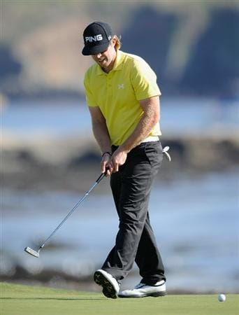 PEBBLE BEACH, CA - FEBRUARY 13:  Hunter Mahan reacts to his putt on the 18th hole during the final round of the AT&T Pebble Beach National Pro-Am at Pebble Beach Golf Links on February 13, 2011  in Pebble Beach, California.  (Photo by Stuart Franklin/Getty Images)