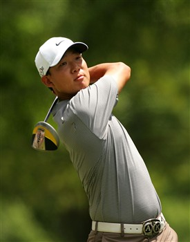 CHARLOTTE, NC - MAY 04:  Anthony Kim hits on the 4th hole during the final round of the Wachovia Championship at Quail Hollow Country Club May 4, 2008 in Charlotte, North Carolina.  (Photo by Sam Greenwood/Getty Images)