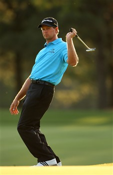 AUGUSTA, GA - APRIL 10:  Retief Goosen of South Africa reacts to missing a putt during the first round of the 2008 Masters Tournament at Augusta National Golf Club on April 10, 2008 in Augusta, Georgia.  (Photo by Andrew Redington/Getty Images)