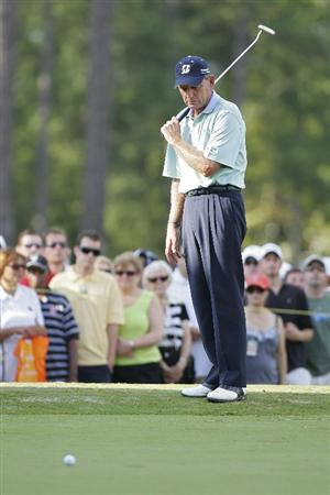 CARY, NC - SEPTEMBER 27:  Nick Price watches his birdie attempt on the 18th green come up short during the final round of the SAS Championship at Prestonwood Country Club held on September 27, 2009 in Cary,  North Carolina.  (Photo by Michael Cohen/Getty Images)