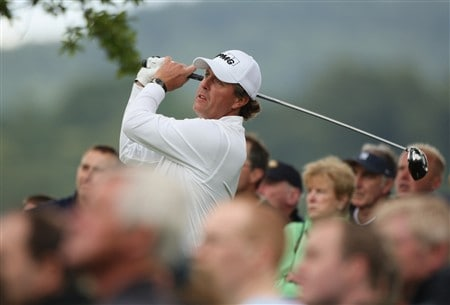 LUSS, UNITED KINGDOM - JULY 12:  Phil Mickelson of USA tees off on the 4th hole during the Third Round of The Barclays Scottish Open at Loch Lomond Golf Club on July 12, 2008 in Luss, Scotland.  (Photo by Warren Little/Getty Images)