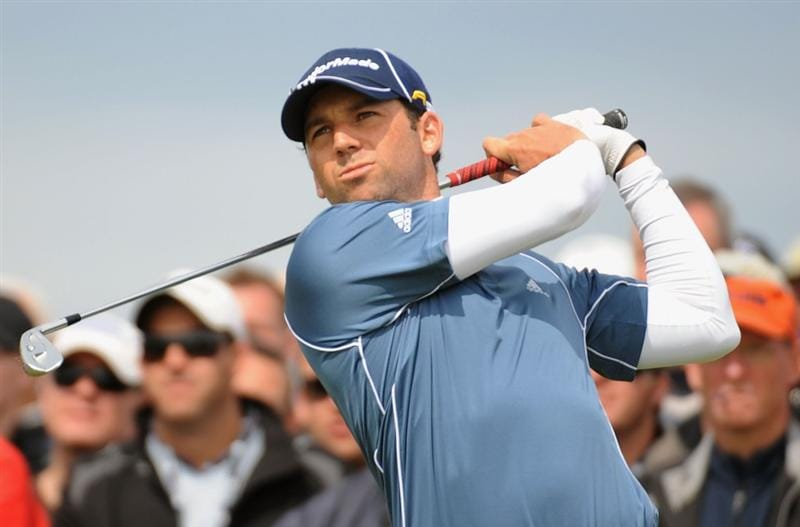 TURNBERRY, SCOTLAND - JULY 18:  Sergio Garcia of Spain tees off during round three of the 138th Open Championship on the Ailsa Course, Turnberry Golf Club on July 18, 2009 in Turnberry, Scotland.  (Photo by Harry How/Getty Images)