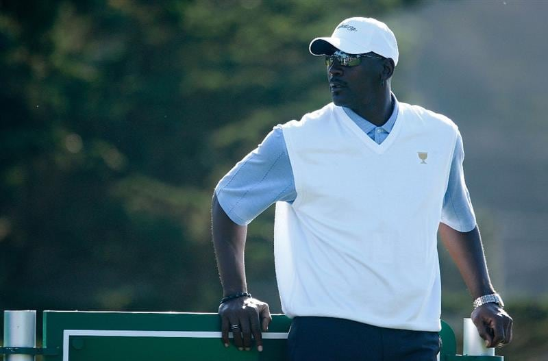 SAN FRANCISCO - OCTOBER 07:  USA Team assistant Michael Jordan watches the play during a practice round prior to the start of The Presidents Cup at Harding Park Golf Course on October 7, 2009 in San Francisco, California.  (Photo by Scott Halleran/Getty Images)