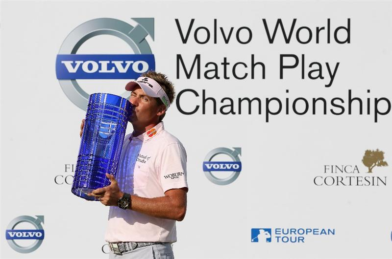 CASARES, SPAIN - MAY 22:  Ian Poulter of England poses with the trophy after winning the Volvo World Match Play Championship at Finca Cortesin on May 22, 2011 in Casares, Spain.  (Photo by Andrew Redington/Getty Images)