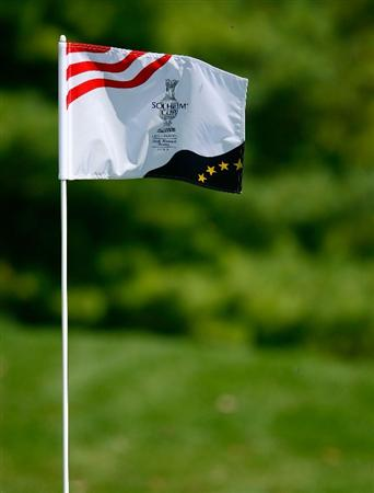 SUGAR GROVE, IL - AUGUST 18:  A Solheim Cup flagstick is seen during a practice round prior to the start of the 2009 Solheim Cup at Rich Harvest Farms on August 18, 2009 in Sugar Grove, Illinois.  (Photo by Scott Halleran/Getty Images)
