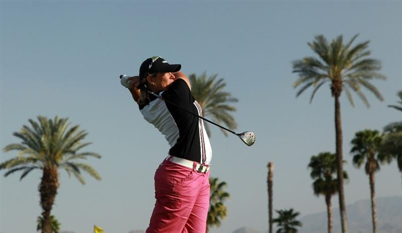 RANCHO MIRAGE, CA - APRIL 03:  Karen Stupples of England plays her tee shot at the 16th hole during the third round of the 2010 Kraft Nabisco Championship, on the Dinah Shore Course at The Mission Hills Country Club, on April 3, 2010 in Rancho Mirage, California.  (Photo by David Cannon/Getty Images)