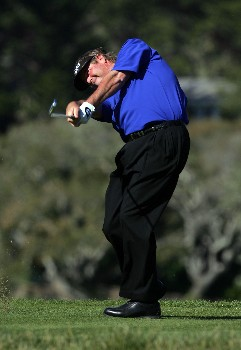 PEBBLE BEACH, CA - FEBRUARY 10:  Steve Lowery hits a tee shot on the fifth hole during the final round of the AT&T Pebble Beach National Pro-Am at the Pebble Beach Golf Links February 10, 2008 in Pebble Beach, California.  (Photo by Jeff Gross/Getty Images)