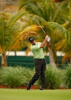 RIO GRANDE, PUERTO RICO - MARCH 21:  Marco Dawson hits his approach on the 15th hole during the second round of the Puerto Rico Open presented by Banco Popular held on March 21, 2008 at Coco Beach Golf & Country Club in Rio Grande, Puerto Rico.  (Photo by Mike Ehrmann/Getty Images)