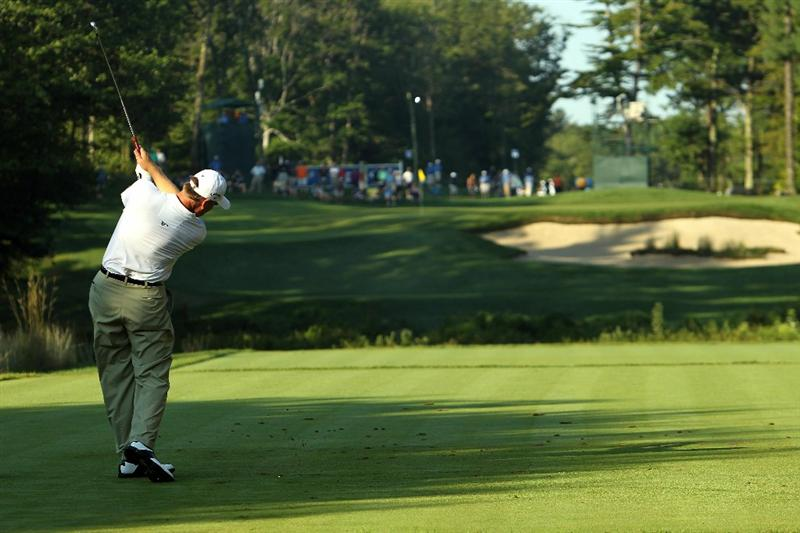 NORTON, MA - SEPTEMBER 04:  Ernie Els of South Africa hits a shot on the 11th tee during the second round of the Deutsche Bank Championship at TPC Boston on September 4, 2010 in Norton, Massachusetts.  (Photo by Mike Ehrmann/Getty Images)