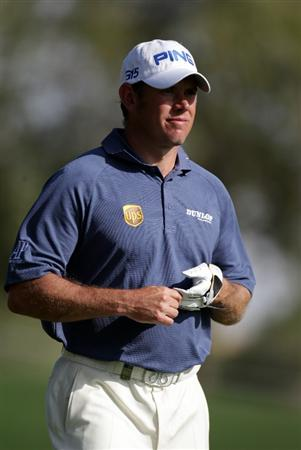 DUBAI, UNITED ARAB EMIRATES - FEBRUARY 13:  Lee Westwood of England during the final round of the Omega Dubai Desert Classic on the Majlis course at the Emirates Golf Club on February 13, 2011 in Dubai, United Arab Emirates.  (Photo by Ross Kinnaird/Getty Images)