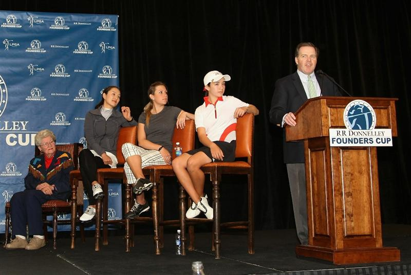 PHOENIX, AZ - FEBRUARY 08:  Director of Marketing for RR Donnelley Rick Ryan (R) speaks at a press conference for the RR Donnelley LPGA Founders Cup as (L-R) LPGA Founder Marilynn Smith, Grace Park, Sara Brown and Hanna Atkins look on at the JW Marrriott Phoenix Desert Ridge Resort and Spa on February 8, 2011 in Phoenix, Arizona.  (Photo by Christian Petersen/Getty Images)