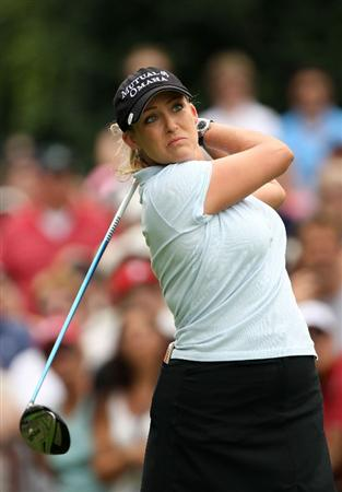 BETHLEHEM, PA - JULY 11:  Cristie Kerr watches her tee shot on the 1st hole during the third round of the 2009 U.S. Women's Open at Saucon Valley Country Club on July 11, 2009 in Bethlehem, Pennsylvania.  (Photo by Streeter Lecka/Getty Images)