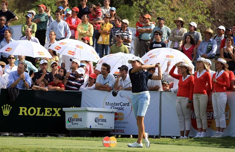 HUIXQUILUCAN, MEXICO - MARCH 21:  Lorena Ochoa of Mexico hits her tee shot on the 12th hole during the second round of the MasterCard Classic at the BosqueReal Country Club on March 21, 2009 in Huixquiucan, Mexico.  (Photo by Scott Halleran/Getty Images)