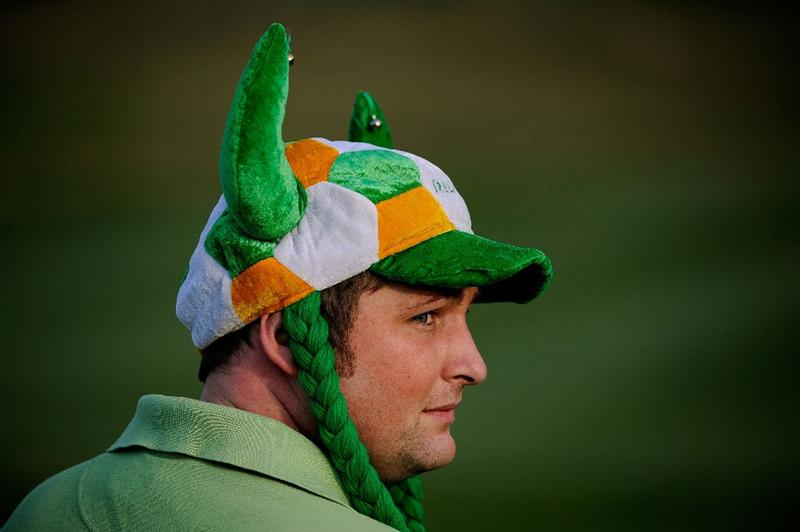 LOUISVILLE, KY - SEPTEMBER 19:  A golf fan watches action during the morning foursomes on day one of the 2008 Ryder Cup at Valhalla Golf Club on September 19, 2008 in Louisville, Kentucky.  (Photo by Sam Greenwood/Getty Images)