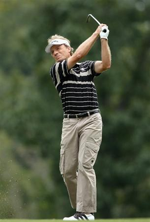 CONOVER, NC - OCTOBER 03:  Bernhard Langer of Germany hits his second shot on the sixth hole during the final round of the Ensure Classic at the Rock Barn Golf & Spa on October 3, 2010 in Conover, North Carolina.  (Photo by Christian Petersen/Getty Images)
